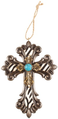 Mini Cross, Zebra and Turquoise  -