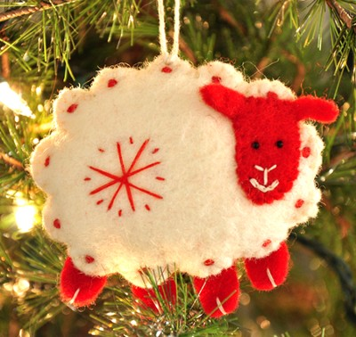 Snowflake Sheep Ornament, White, Fair Trade Product  -