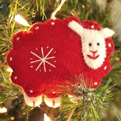 Snowflake Sheep Ornament, Red, Fair Trade Product  -