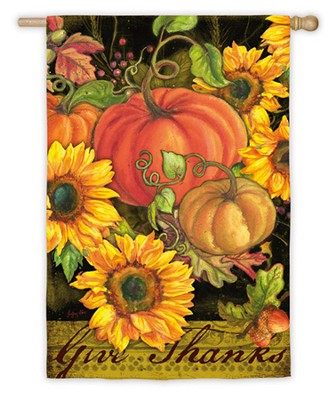 Give Thanks, Pumpkins & Sunflowers, Large Flag   -     By: Geoff Allen