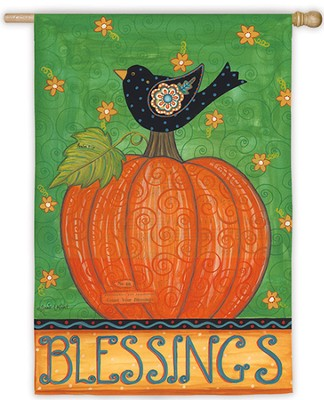 Blessing (With Bird and Pumpkin), Large Flag  -     By: Annie LaPoint