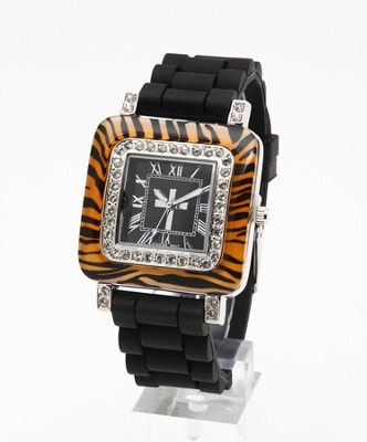 Silicone Band Watch with Tiger Design Dial  -