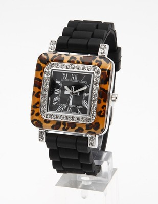Silicone Band Watch with Leopard Design Dial  -