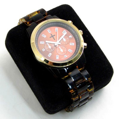 Chronograph Style Watch with Tortoise Band  -