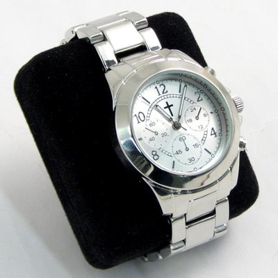 Chronograph Style Watch with Silver Band  -