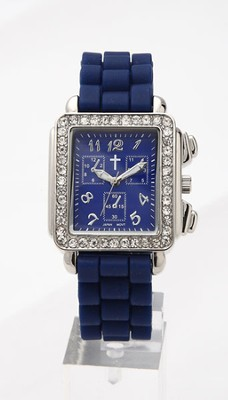 Chronograph Style Square Face Silicone Band, Navy  -
