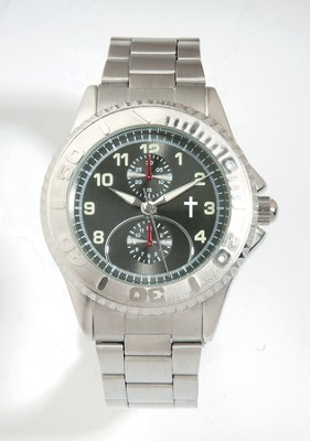 Metal Band Watch with Cross, Silver Dial (Chronograph Eyes are Decorative Only)  -