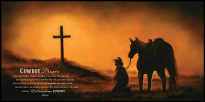 Cowboy Prayer Mounted Print  -     By: Judith Durr