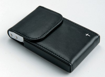 Flip Business Card Holder with Cross, Black  -