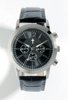 Watch with Cross, Leather band, Black (Chronograph Eyes are Decorative Only)  -