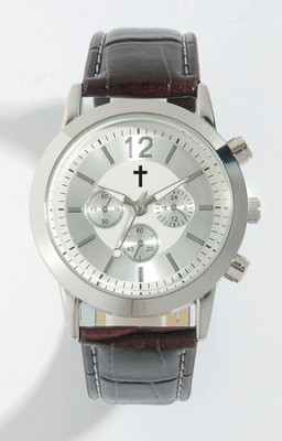 Watch with Cross, Leather band, Brown (Chronograph Eyes are Decorative Only)  -