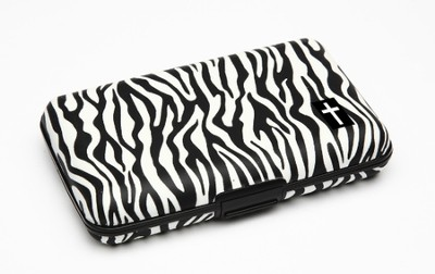 Cash and Credit Card Pocket Case with Cross, Zebra Design  -