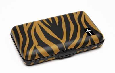 Cash and Credit Card Pocket Case with Cross, Tiger Design  -