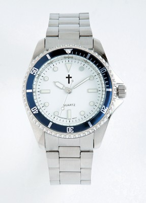 Watch with Cross, Metal and with Blue Dial  -