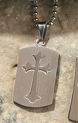 Dogtag Pendant, with Overlay Cross  -
