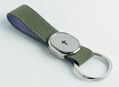 Finger Strap Keyring with Cross, Green  -
