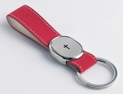 Finger Strap Keyring with Cross, Red  -