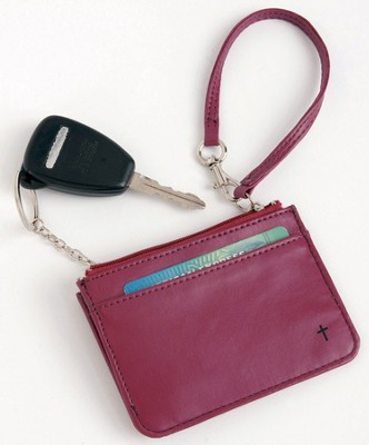 Wristlet with Key Ring and ID Pouch with Cross, Red  -