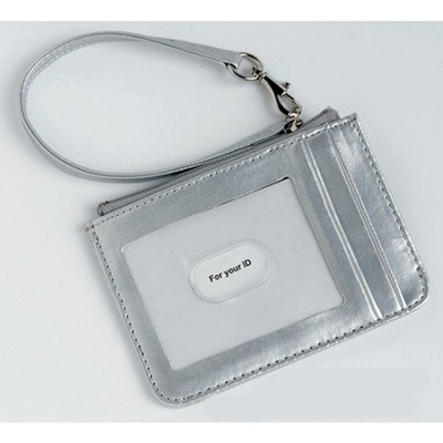 Keyring and ID Pouch with Cross, Silver  -