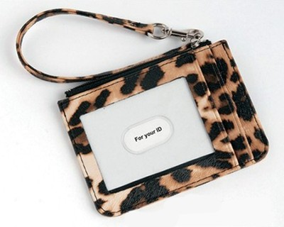 Keyring and ID Pouch with Cross, Leopard  -