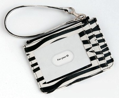 Keyring and ID Pouch with Cross, Zebra  -