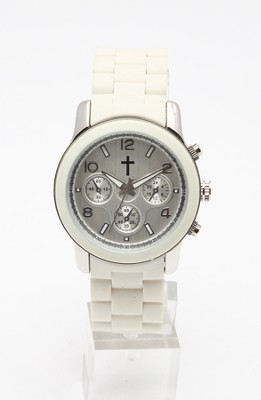 Chronograph Style Watch, White and Silver  -