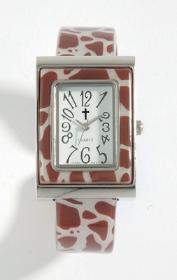 Cuff Watch with Cross, Giraffe Pattern  -
