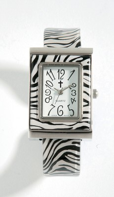 Cuff Watch with Cross, Zebra Pattern  -