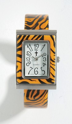 Cuff Watch with Cross, Tiger Pattern  -