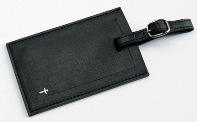 Luggage Tag with Cross, Black  -