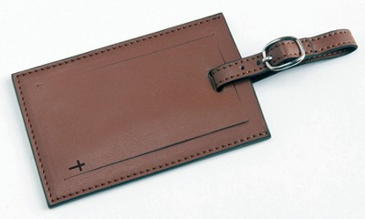 Luggage Tag with Cross, Brown  -