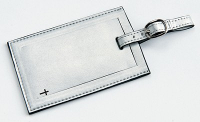 Luggage Tag with Cross, Silver  -