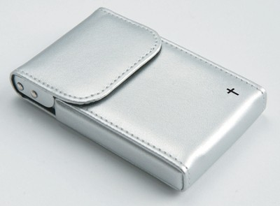 Flip Business Card Holder with Cross, Silver  -