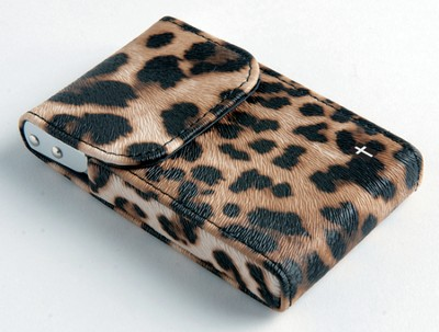 Flip Business Card Holder with Cross, Leopard  -