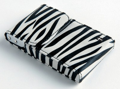 Flip Business Card Holder with Cross, Zebra  -