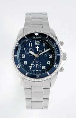 Chronograph Watch with Cross, Metal Band and Blue Dial  -