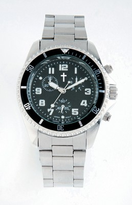 Chronograph Watch with Cross, Metal Band and Black Dial  -