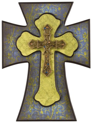 Swirls Wall Cross, Blue and Green  -