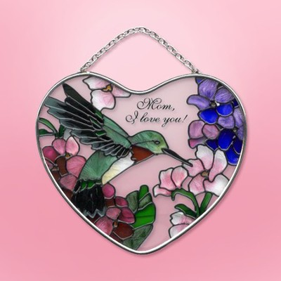 Mom, I Love You Small Heart Suncatcher   -