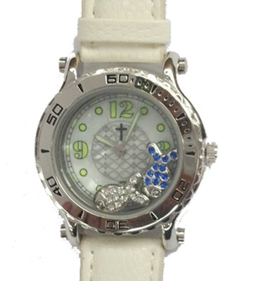 Leather Band Watch with Floating Fish, White  -