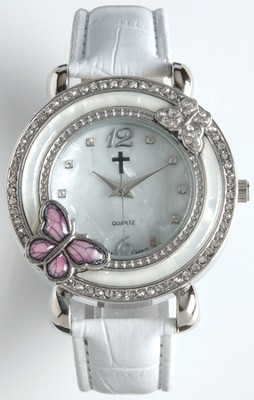 Leather Band Watch with Butterfly, White  -