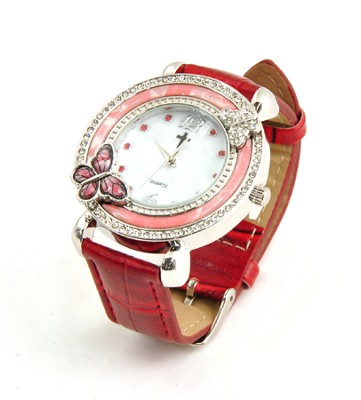 Leather Band Watch with Butterfly, Red  -