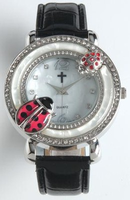Leather Band Watch with Ladybug, Black  -