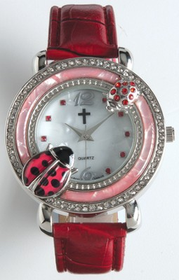 Leather Band Watch with Ladybug, Red  -