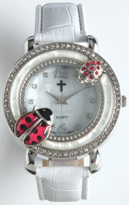 Leather Band Watch with Ladybug, White  -