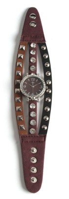 Triple Band Watch with Cross, Brown, Tan and Black with Rhinestones  -