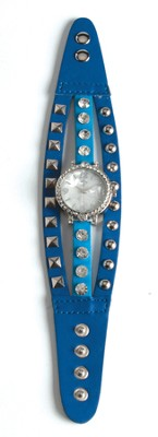 Triple Band Watch with Cross, Navy and Blue with Rhinestones  -