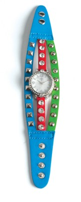 Triple Band Watch with Cross, Blue, Red and Turquoise with Rhinestones  -