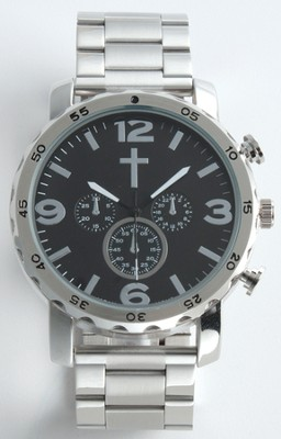 Chronographic Style Watch with Cross on Round Face, Silver, Boxed  -