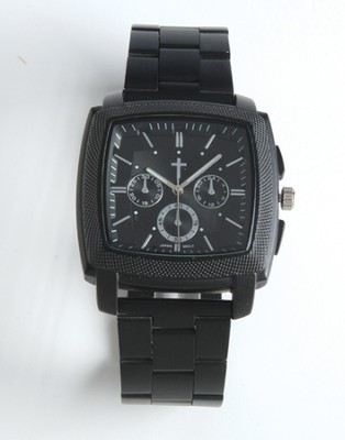 Chronographic Style Watch with Cross on Square Face, Black, Boxed  -